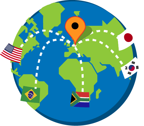 Wereldbol met Amerika, Japan, Korea en Zuid Afrika